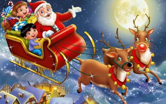 Santa Claus, Sleigh, Reindeer, Christmas