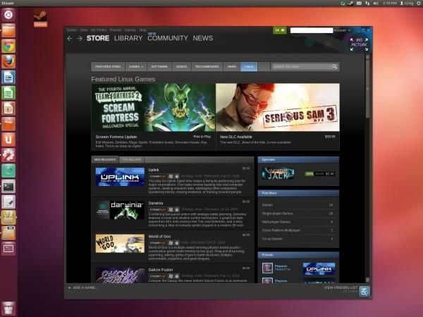Steam no Ubuntu, uma distribuição linux.