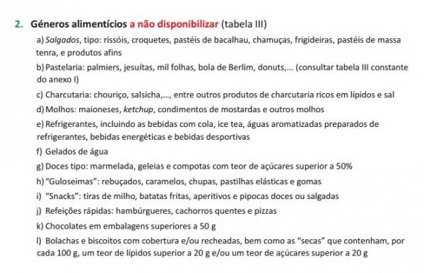 Alimentos que as escolas não devem disponibilizar nas escolas. (DGS)